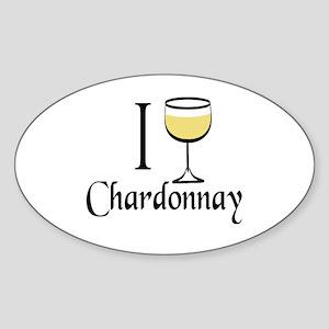 I Drink Chardonnay Sticker (Oval)