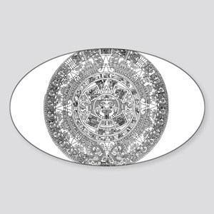 Aztec calendar Sticker (Oval)