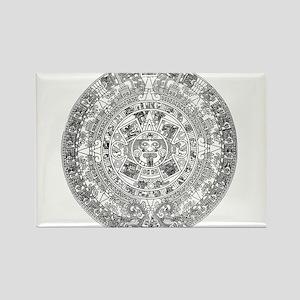 Aztec calendar Rectangle Magnet