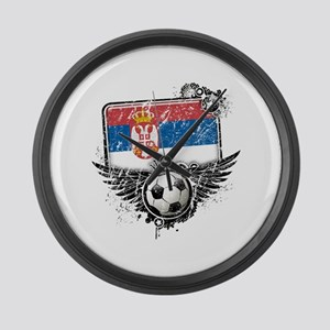 Soccer Fan Serbia Large Wall Clock