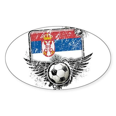 Soccer Fan Serbia Sticker (Oval 10 pk)
