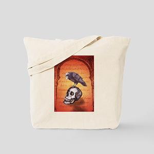 Poe raven with Skull Tote Bag