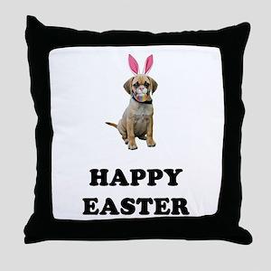 Easter Bunny Puggle Throw Pillow