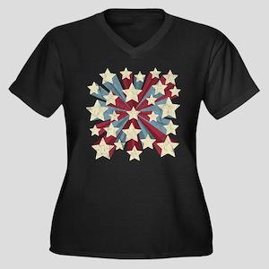 Star Pop Women's Plus Size V-Neck Dark T-Shirt