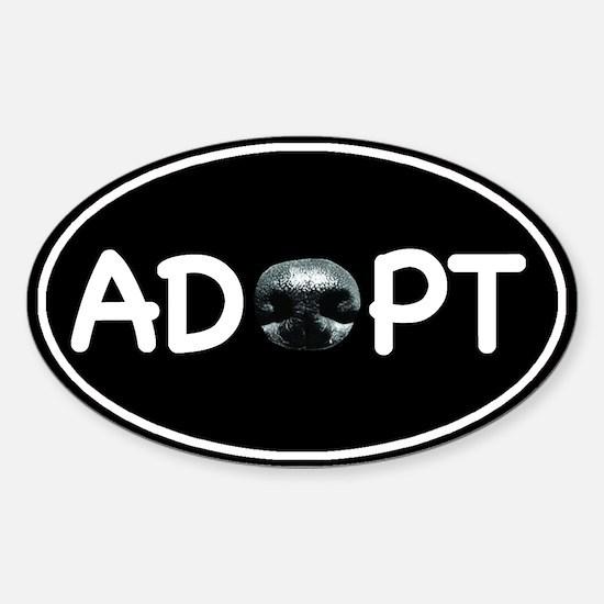 Adopt Nose Black Oval Sticker (Oval)
