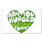 Hug a Vegetarian Sticker (Rectangle)
