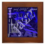 Jazz Black and Blue Framed Tile