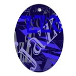 Jazz Black and Blue Ornament (Oval)
