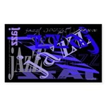 Jazz Black and Blue Sticker (Rectangle)