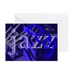 Jazz Black and Blue Greeting Cards (Pk of 10)