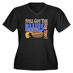 Blues for You Women's Plus Size V-Neck Dark T-Shir