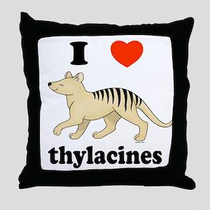 I Love Thylacines Throw Pillow