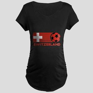 Switzerland Soccer Maternity Dark T-Shirt