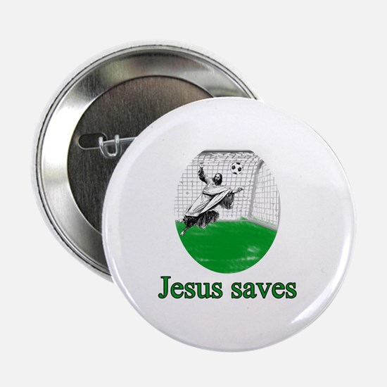 "Jesus saves a goal 2.25"" Button"