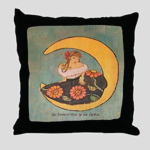La senorita y la luna. Throw Pillow