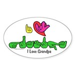 I-L-Y Grandpa Sticker (Oval)