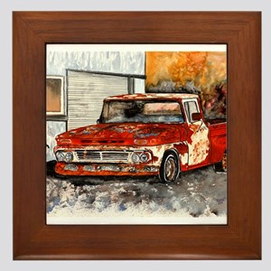 old pickup truck vintage anti Framed Tile