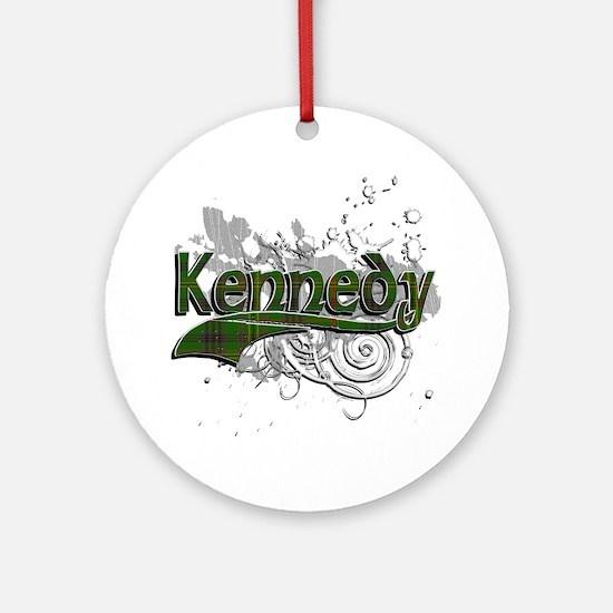 Kennedy Tartan Grunge Ornament (Round)