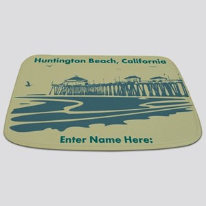 Customized Huntington Beach Illustration Bathmat