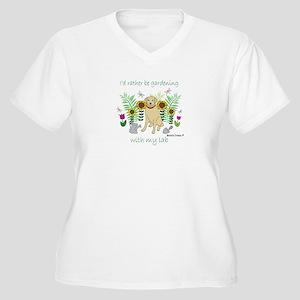 yellow lab Women's Plus Size V-Neck T-Shirt