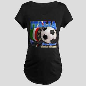 Italia World Soccer Kick Maternity Dark T-Shirt