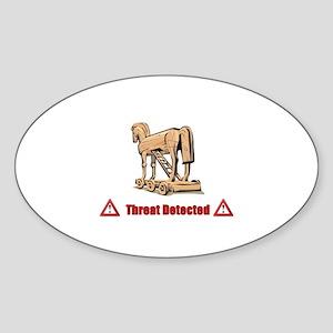 Trojan Horse - Threat Detected Sticker (Oval)