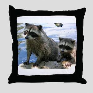 Racoon Buddies Throw Pillow