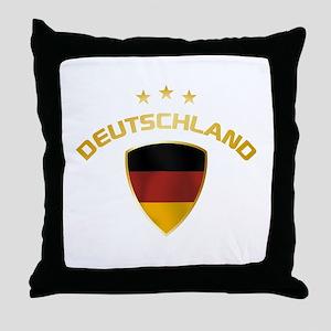 Soccer Crest DEUTSCHLAND gold Throw Pillow