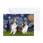 Starry / Two Shelties (D&L) Greeting Cards (Pk of