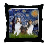 Starry / Two Shelties (D&L) Throw Pillow