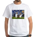 Starry / Two Shelties (D&L) White T-Shirt