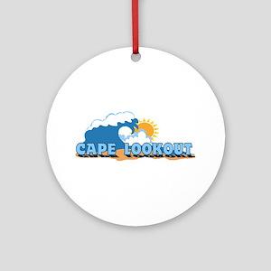 Cape Lookout NC - Waves Design Ornament (Round)