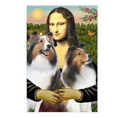 Mona Lisa / 2 Shelties (DL) Postcards (Package of
