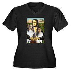 Mona Lisa / 2 Shelties (DL) Women's Plus Size V-Ne