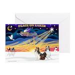 XmasSunrise/2 Shelties (dl) Greeting Card