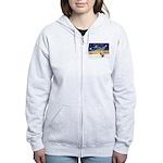 XmasSunrise/2 Shelties (dl) Women's Zip Hoodie