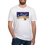 XmasSunrise/2 Shelties (dl) Fitted T-Shirt