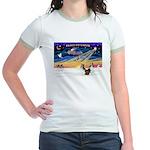 XmasSunrise/2 Shelties (dl) Jr. Ringer T-Shirt
