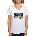 XmasSunrise/2 Shelties (dl) Women's V-Neck T-Shirt