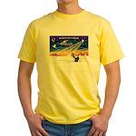 XmasSunrise/2 Shelties (dl) Yellow T-Shirt