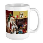 Santas Two Shelties (dl) Large Mug