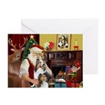 Santas Two Shelties (dl) Greeting Cards (Pk of 10)
