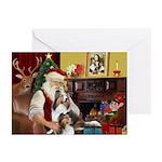 Santas Two Shelties (dl) Greeting Cards (Pk of 10)
