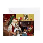 Santas Two Shelties (dl) Greeting Cards (Pk of 20)