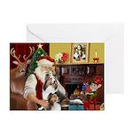Santas Two Shelties (dl) Greeting Cards (Pk of 20)