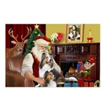 Santas Two Shelties (dl) Postcards (Package of 8)