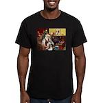 Santas Two Shelties (dl) Men's Fitted T-Shirt (dar
