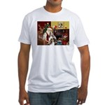 Santas Two Shelties (dl) Fitted T-Shirt
