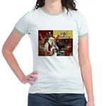 Santas Two Shelties (dl) Jr. Ringer T-Shirt