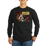 Santas Two Shelties (dl) Long Sleeve Dark T-Shirt